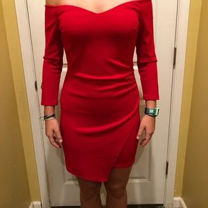 Red body con off the shoulder